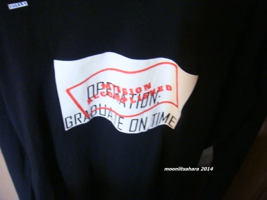 """Graduate on Time"" Customized shirt by MJ and Niqabinja"